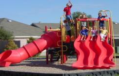 Red slides on the playground