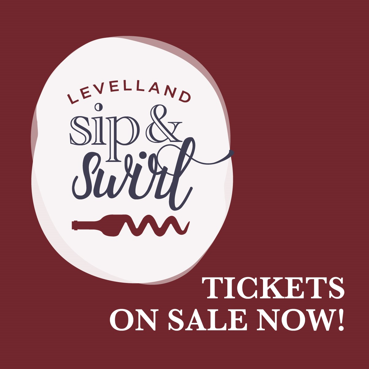 Levelland Sip & Swirl Logo with Maroon background